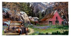 Rocky Mountain Ranch Beach Towel by Ron Chambers