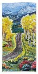 Rocky Mountain Road Beach Towel
