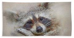 Beach Towel featuring the photograph Rocky Raccoon by Brian Tarr