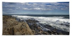 Rocky Shore Line Two Lights Maine  Beach Sheet by Debra Forand