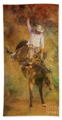Rodeo Bronco Riding Three Beach Towel