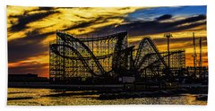 Roller Coaster Sunset Beach Towel