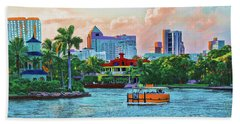 Beach Towel featuring the painting Rolling Down The New River by Deborah Boyd
