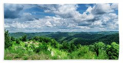 Rolling Hills And Puffy Clouds Beach Towel