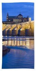 Roman Bridge On Guadalquivir River At Dawn Beach Sheet