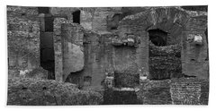 Beach Towel featuring the photograph Roman Colosseum Bw by Silvia Bruno