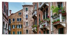 Gondola Ride Surrounded By Vintage Buildings In Venice, Italy Beach Sheet