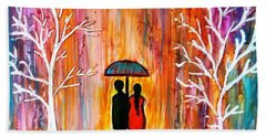 Romance In The Rain Beach Towel