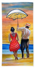 Romance On The Beach Beach Towel