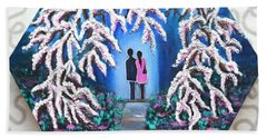 Romance Under Cherry Blossom Textured Hexagonal Painting  Beach Towel