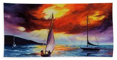 Beach Towel featuring the painting Romancing The Sail by Darice Machel McGuire
