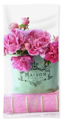 Paris Red Pink Peonies Maison Flowers Pink Book - French Aqua Pink Peonies Books Wall Decor Beach Towel