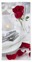 Romantic Dinner Setting With Rose Petals Beach Towel