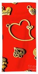 Romantic Heart Decorations Beach Towel