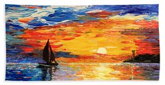Beach Sheet featuring the painting Romantic Sea Sunset by Georgeta  Blanaru