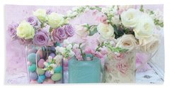 Shabby Chic Pastel Pink Lavender White Roses - Shabby Chic Roses Cottage Floral Print - Easter Beach Towel
