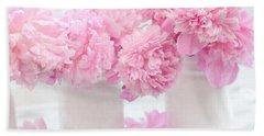 Shabby Chic Pastel Pink Peonies - Pink Peonies In White Mason Jars Beach Towel