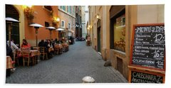 Romantic Streetside Cafe Beach Towel