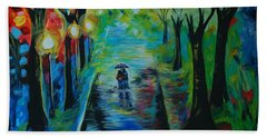 Beach Towel featuring the painting Romantic Stroll by Leslie Allen