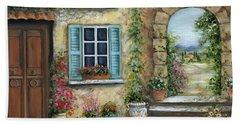 Romantic Tuscan Courtyard II Beach Towel