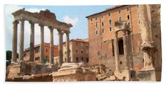 Rome The Eternal City And Temples Beach Sheet