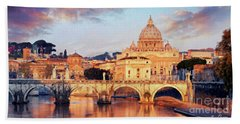 Beach Towel featuring the mixed media Rome The Eternal City - Saint Peter From The Tiber by Rosario Piazza