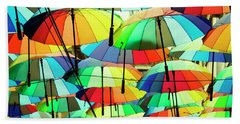 Roof Made From Colorful Umbrellas Beach Towel by Vlad Baciu