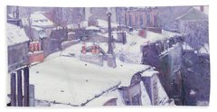 Roofs Under Snow Beach Sheet by Gustave Caillebotte