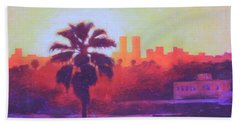 Beach Towel featuring the painting Rooftop Glow by Andrew Danielsen