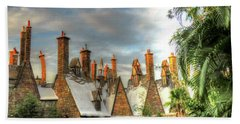 Beach Sheet featuring the photograph rooftops Hogsmeade by Tom Prendergast