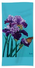 Kim's Iris's With Monarch. Beach Sheet by Susan Duda