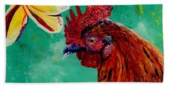 Beach Sheet featuring the painting Rooster And Plumeria by Marionette Taboniar