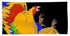 Rooster Fight Beach Towel by Saundra Myles
