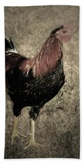 Rooster Red Art Textured Vignette Beach Towel