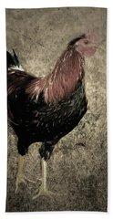 Rooster Red Art Textured Vignette Beach Sheet