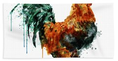 Rooster Watercolor Painting Beach Towel