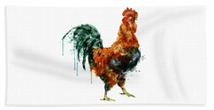 Rooster Watercolor Painting Beach Sheet