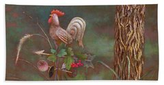 Beach Towel featuring the painting Rooster Weather Vane In Garden by Nancy Lee Moran
