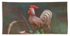 Beach Towel featuring the painting Rooster Weather Vane In Square Format by Nancy Lee Moran