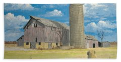 Beach Towel featuring the painting Rorabeck Barn by Norm Starks