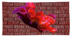 Beach Towel featuring the digital art Rose Against The Wall Poster by Aliceann Carlton