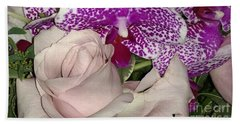 Rose And Orchid Beach Towel