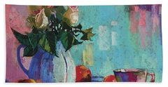 Rose And Peaches Still Life Beach Towel