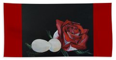 Rose And The Eggs Acrylic Painting Beach Sheet by Shelley Overton