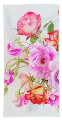 Rose Bouquet And Vintage Teapot Beach Towel