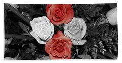 Rose Bouquet Beach Sheet by DigiArt Diaries by Vicky B Fuller