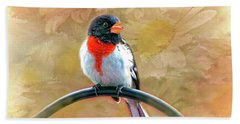 Beach Towel featuring the photograph Rose-breasted-grosbeak by Mary Timman