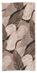 Rose Gold Jungle Leaves Beach Towel