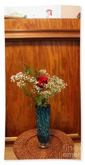 Beach Towel featuring the photograph Rose In A Glass Vase Before by Marie Neder