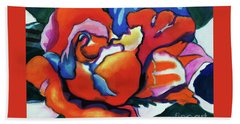 Beach Towel featuring the painting Rose In Outline by Kathy Braud